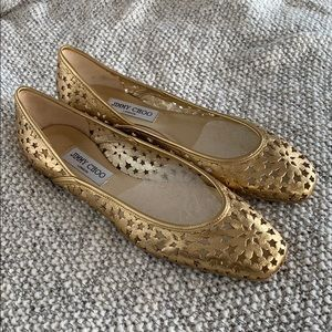 JIMMY CHOO Gold Leather Flats Size 40 1/2 NEW